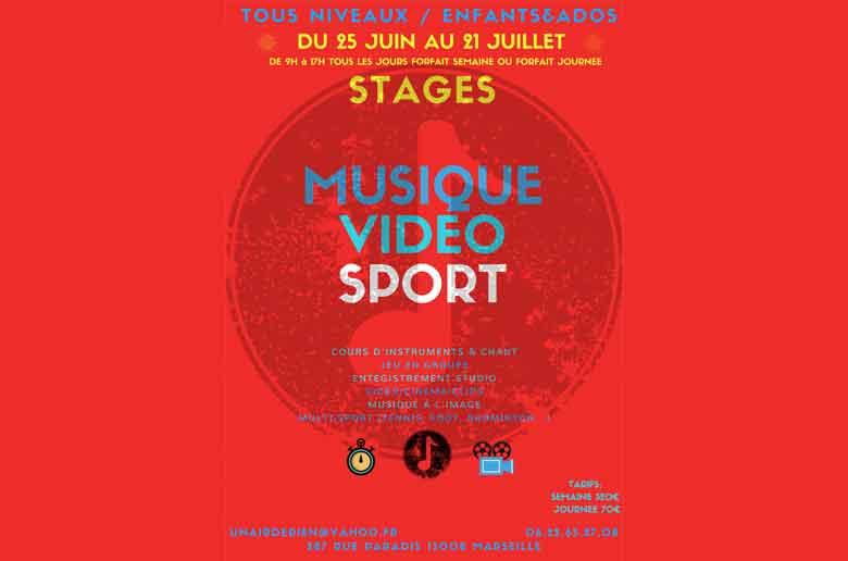 Stage musique, sport, cinéma